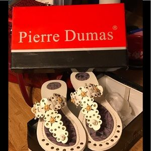 Pierre Dumas White Flowered Sandals